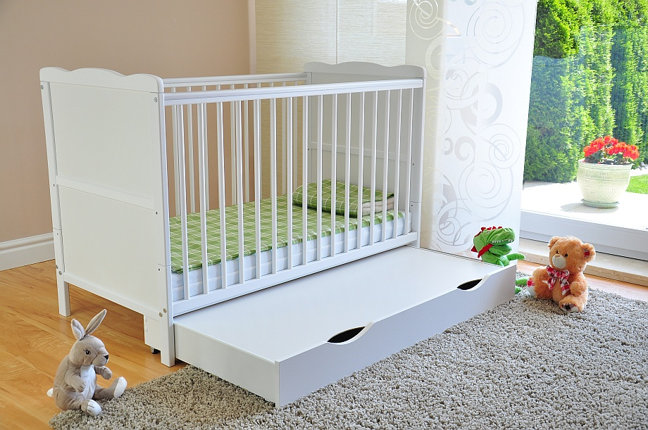 Baby Cot Bed with Drawer White Junior Toddler Bed ✔ Deluxe Aloe Vera Mattress